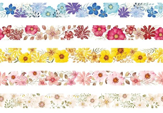 Conjunto de fronteras florales acuarela transparente aislado sobre fondo blanco. horizontalmente repetible.