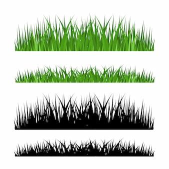 Conjunto de fronteras de hierba, ilustración vectorial
