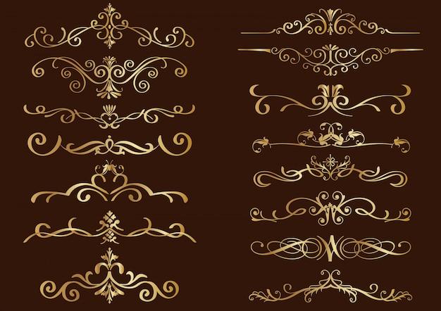 Conjunto de fronteras de oro de la vendimia aislado en un fondo oscuro.