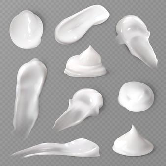 Conjunto de frotis de crema cosmética realista
