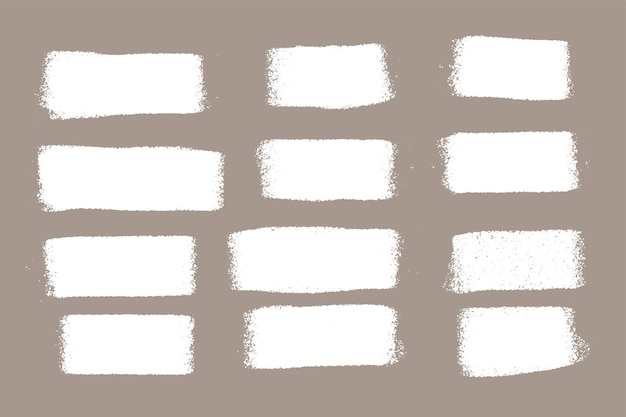 Conjunto de frotis de rodillo de pintura blanca grunge