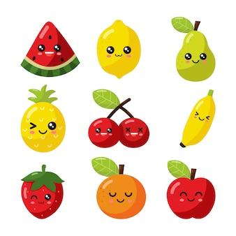 Conjunto de fruta de dibujos animados kawaii aislado