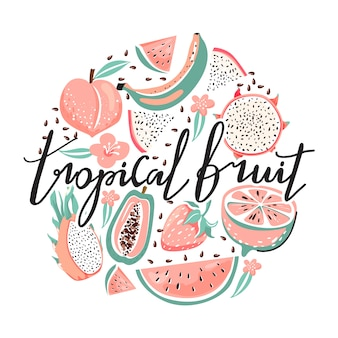 Conjunto de fruta del dragón, papaya, sandía, plátano, fresa, melocotón, flor, semillas.