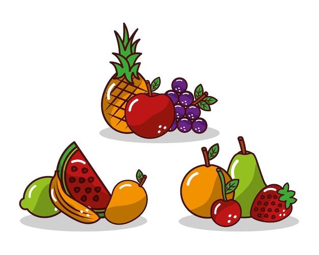 Conjunto de fruta fresca sabrosa manzana piña uva fresa limón