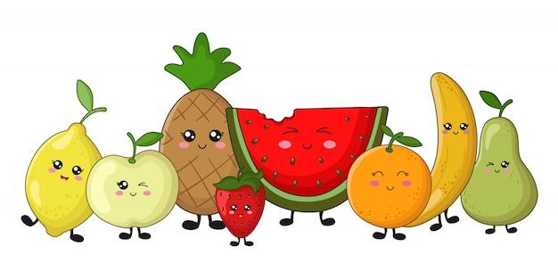 Conjunto de fruta kawaii - limón, manzana, piña, naranja, fresa