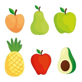 Conjunto de frutas y aguacate en fondo blanco.