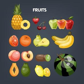Conjunto de frutas. alimentos orgánicos llenos de vitamina