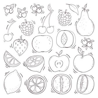 Conjunto de frutas y bayas dibujadas a mano.