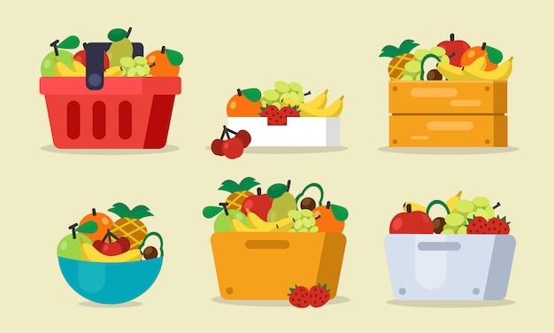 Conjunto de frutas con cesta, bolsa, caja de madera, ilustración vectorial de fundición
