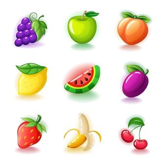 Conjunto de frutas coloridas: cerezas brillantes, uvas, plátano medio pelado, fresas maduras, limón, ciruela