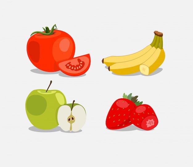 Un conjunto de frutas. comida natural.