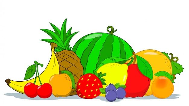 Un conjunto de frutas. concepto bodegón de frutas. verano