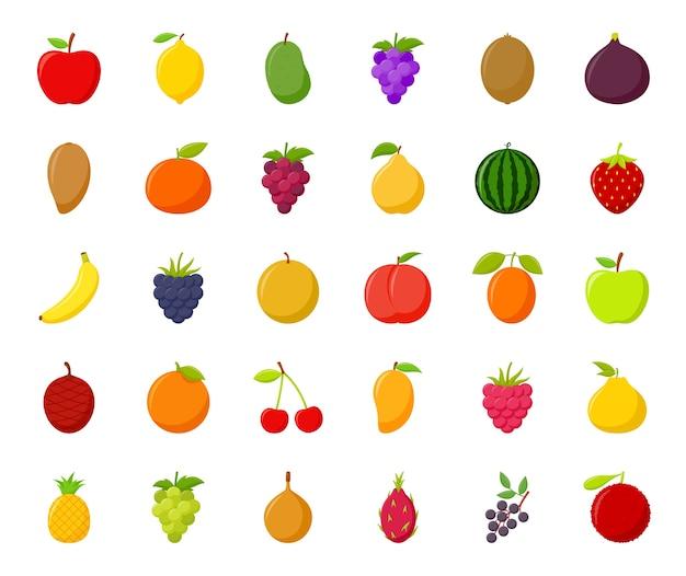 Conjunto de frutas de dibujos animados coloridos sobre fondo blanco