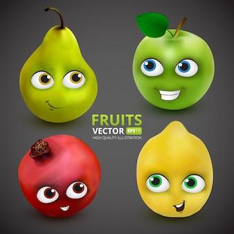 Conjunto de frutas divertidas y lindas de dibujos animados en gris oscuro