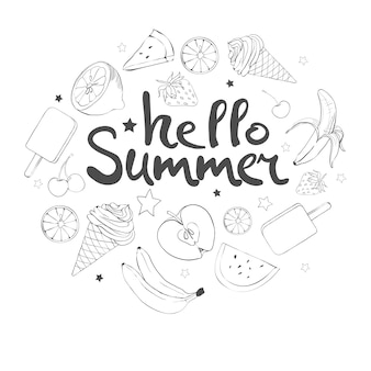 Conjunto de frutas doodle dibujados a mano
