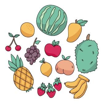 Conjunto de frutas doodle