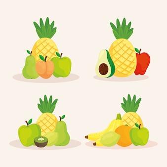 Conjunto de frutas frescas y deliciosas.