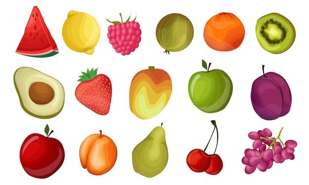 Conjunto de frutas frescas. iconos de frutas coloridas realistas