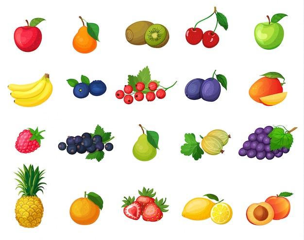 Conjunto de frutas de iconos