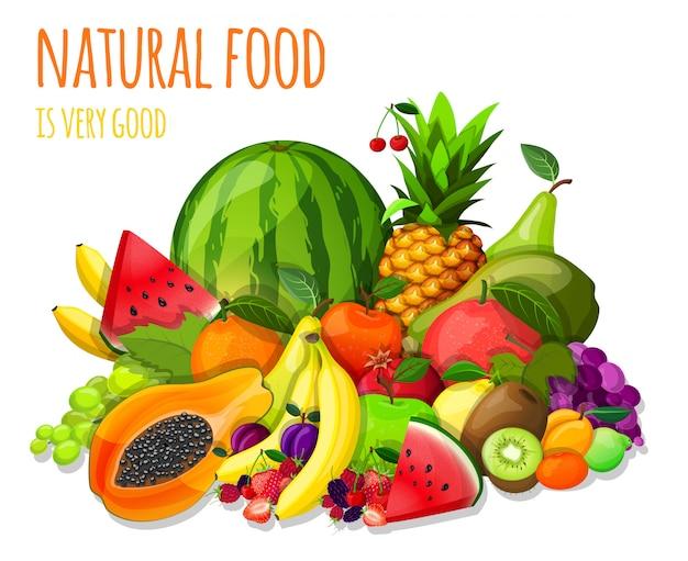 Conjunto de frutas ilustración de bodegón