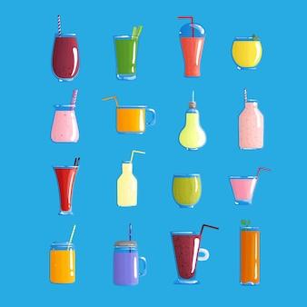 Conjunto de frutas de jugo saludable y vegie ilustración vectorial