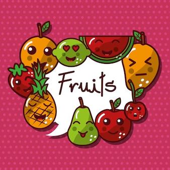 Conjunto de frutas kawaii lindo sonriendo alimentos saludables