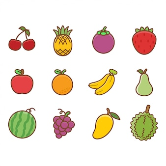 Conjunto de frutas lindas para niños y niños que aprenden vocabulario.