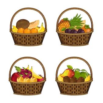 Conjunto de frutas orgánicas frescas en cesta de mimbre