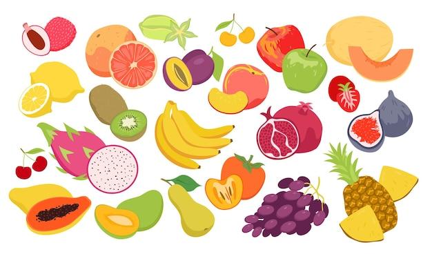 Conjunto de frutas, productos alimenticios tropicales orgánicos frescos de verano para el mercado agrícola agrícola