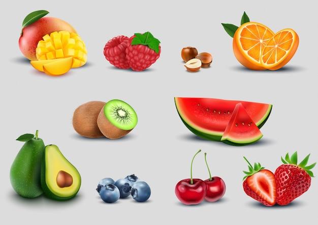 Conjunto de frutas sobre fondo blanco
