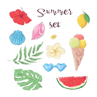 Conjunto de frutas tropicales. dibujo vectorial a mano
