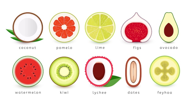 Conjunto de frutas tropicales frescas