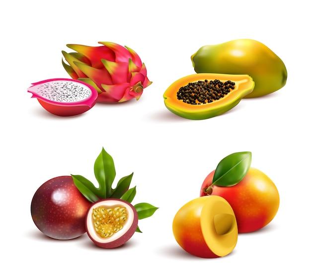 Conjunto de frutas tropicales maduras