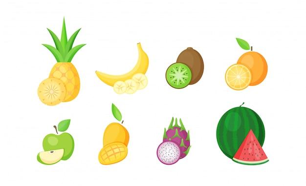 Conjunto de frutas tropicales con rodajas