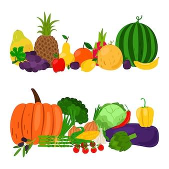 Conjunto de frutas vegetales