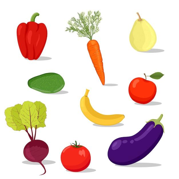 Conjunto de frutas y verduras frescas de dibujos animados