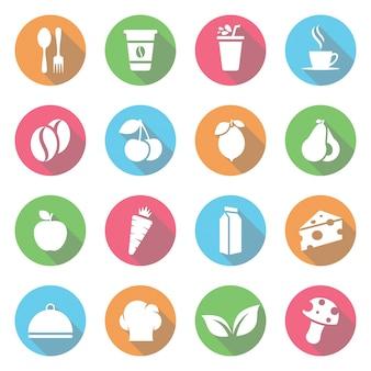 Conjunto de frutas y verduras icono vector plano