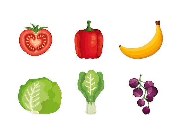 Conjunto de frutas y verduras.