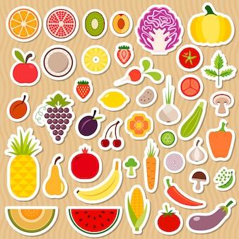 Conjunto de frutas y verduras