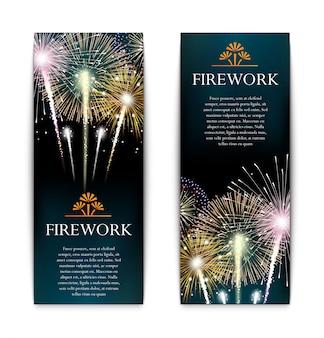 Conjunto de fuegos artificiales, banner vertical festivo, ilustración de petardo
