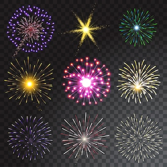 Conjunto de fuegos artificiales de colores sobre fondo transparente. ilustración