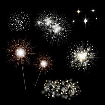 Conjunto de fuegos artificiales y luz de bengala