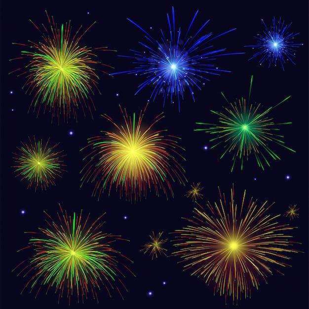 Conjunto de fuegos artificiales multicolores brillantes azules, dorados, verdes y rojos