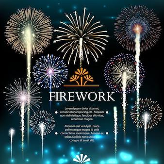 Conjunto de fuegos artificiales, pancarta festiva, invitación a unas vacaciones. ilustración