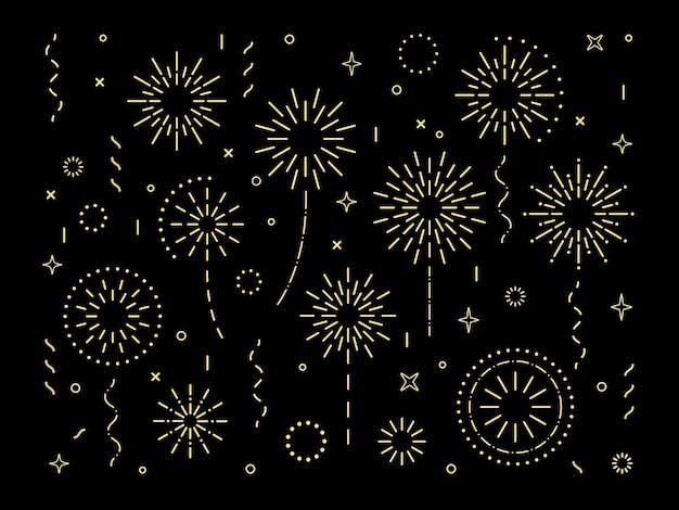Conjunto de fuegos artificiales de patrón de explosión de oro abstracto colección de patrón de fuegos artificiales en forma de estrella art deco aislado