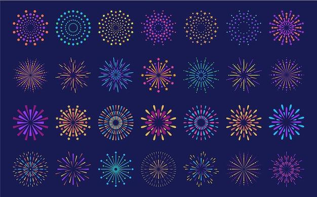 Conjunto de fuegos artificiales de patrón de ráfaga abstracta colección de patrones geométricos de fuegos artificiales en forma de estrella colorida plana