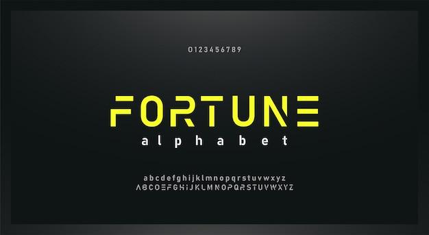 Conjunto de fuente y número de alfabeto futuro moderno urbano