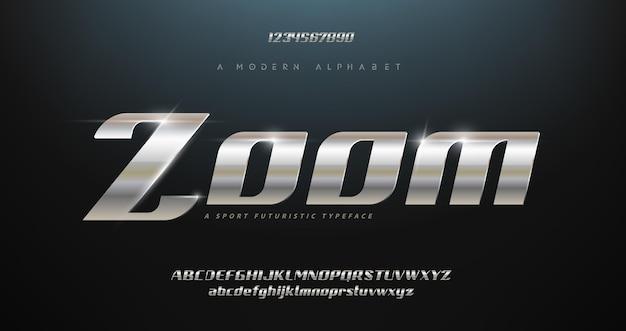Conjunto de fuentes de alfabeto cursiva de tipografía moderna deportiva