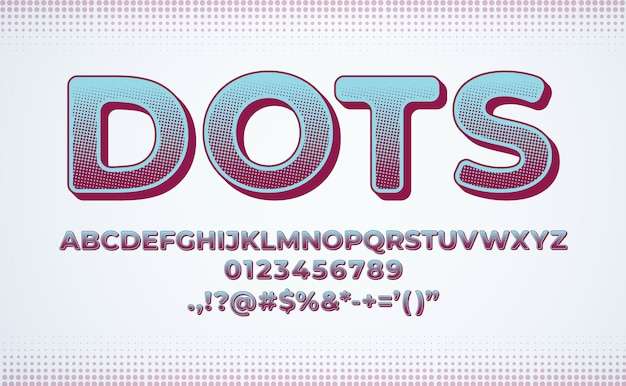 Conjunto de fuentes del alfabeto. gradiente de efecto de punto de semitono
