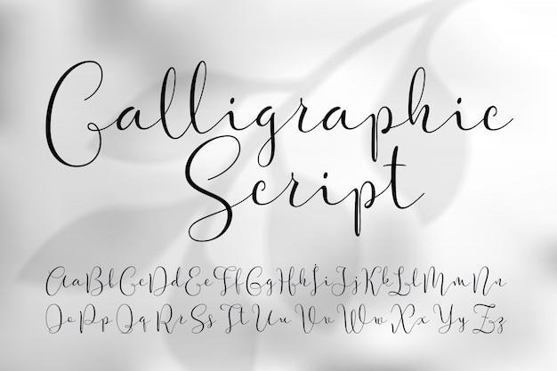 Conjunto de fuentes de escritura caligráfica ligera